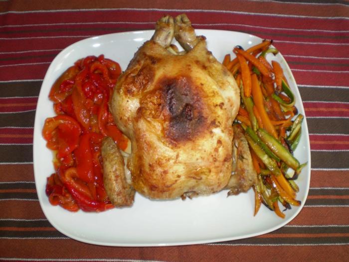 Pollo arrosto con verdure.
