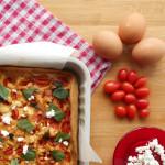 Torta salata con formaggio di capra, pomodorini e basilico per Re-cake 2.0
